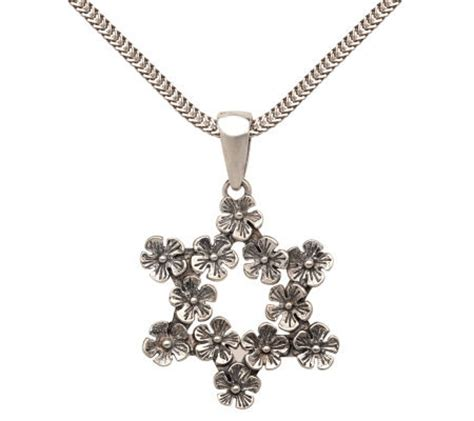 or paz sterling flower pendant with 17 quot wheat chain