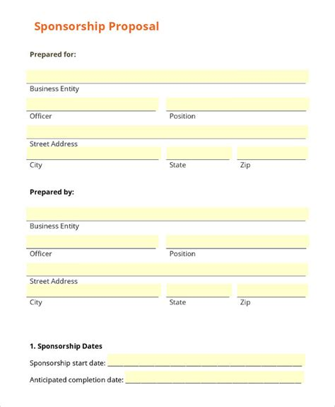 charity sponsorship form template complete guide example