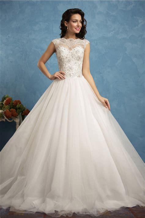 beaded tulle gown gown high neck cap sleeve tulle lace beaded wedding
