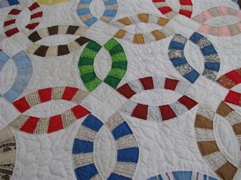 Wedding Patchwork Quilt - vintage wedding ring quilt cotton print patchwork blocks