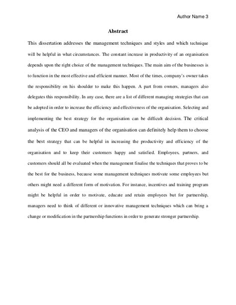 thesis abstract about business business management dissertation sle for mba students