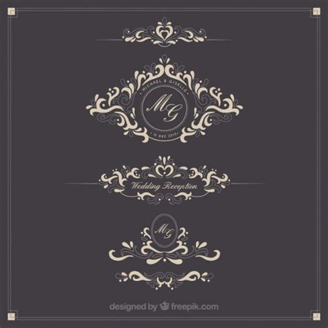 Wedding Logo Vector by Ornamental Wedding Logos Vector Free