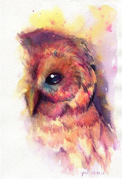 water color owl the owl original watercolor painting 7 5x11 inches