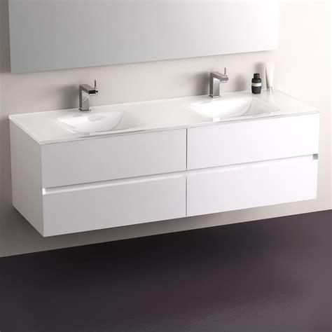 meuble salle de bain blanc 150 cm 4 tiroirs plan verre