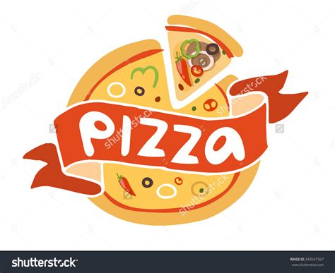 pizza flat icon logo template pizza food silhouette