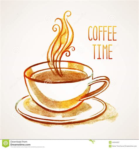 Watercolor Cup Of Coffee Stock Vector   Image: 44044267