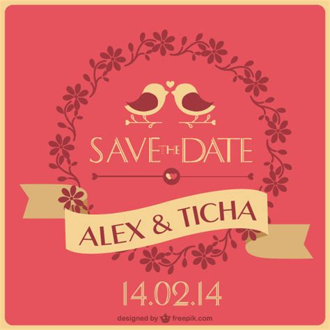 save the date wedding card template vector 123freevectors