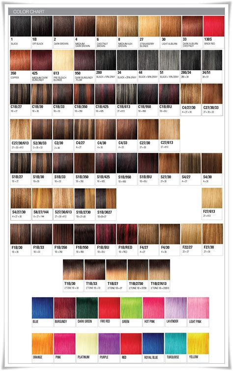 Xpressions Hair Extensions Colour Chart   Hair Weave