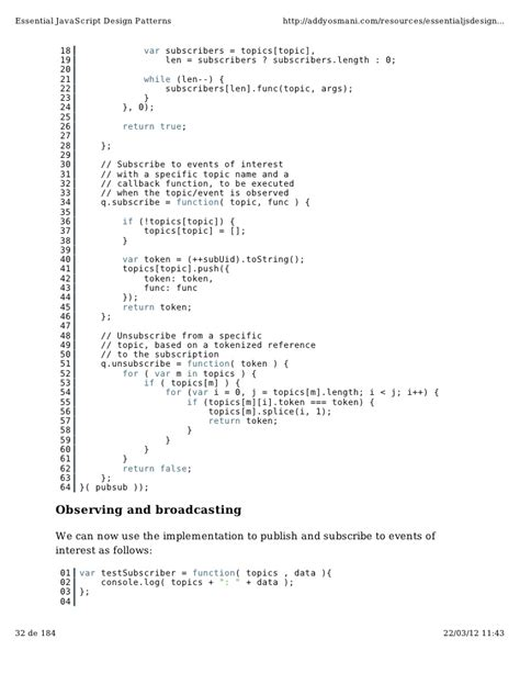 javascript broadcast pattern essential java script design patterns