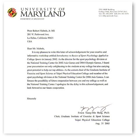 College Letter Of Recommendation Thank You Taipai Physical Education College Thank You Letter
