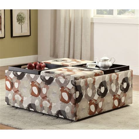 Printed Storage Ottoman Furniture Of America Sorriana Printed Storage Ottoman In Beige Print Idf 6793pa Ot