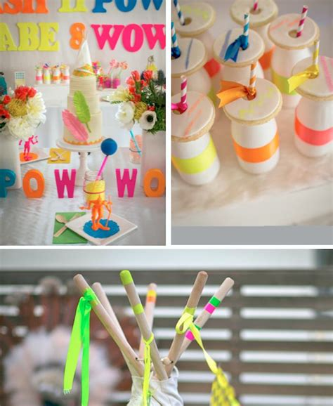 Birthday Party Giveaway Ideas - neon pow wow birthday party via kara s party ideas karaspartyideas com cake favors