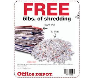 Office Depot Coupons Shredding Office Depot Coupon Valid For Free 5lbs Of Shredding