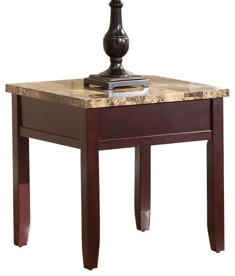 cherry wood accent table with green marble top homelegance orton faux marble top end table in rich cherry
