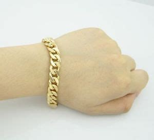 real 18k gold filled mens link chain bracelet 8 inches