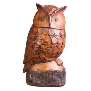 Wood carved look polystone owl statue