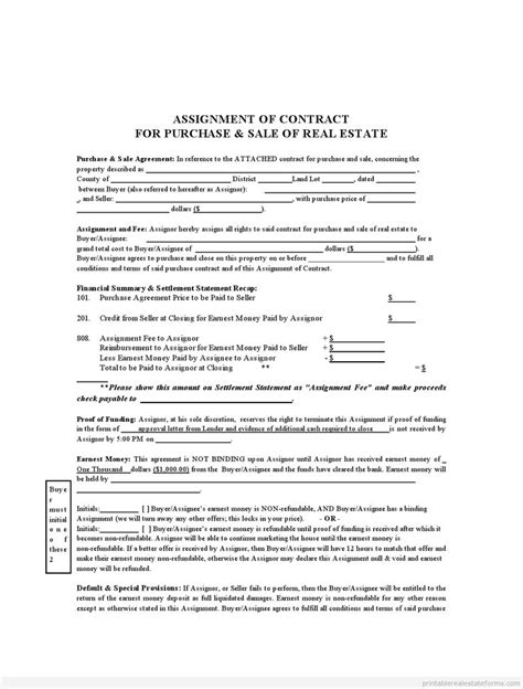 sample printable assignment  contract form sample real estate forms pinterest  printable