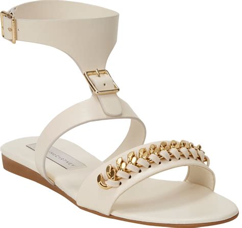 white and gold sandals stella mccartney gold chain flat sandal in white lyst