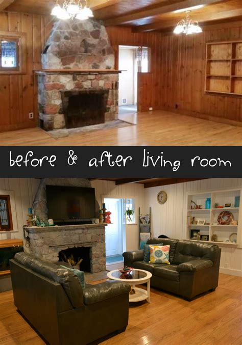 painted wood paneling before and after before and after living room remodel coastal living room