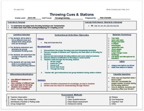 lesson plan template higher education physical education lesson plan template by cap n pete s