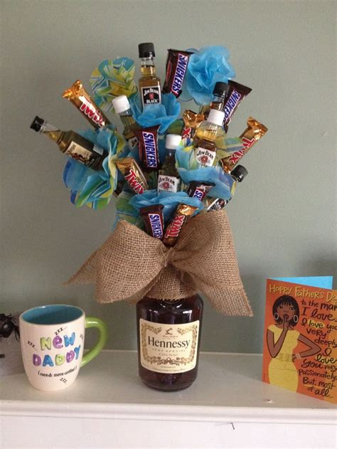 man flowers father s day hennessey candy gift diy