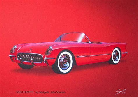 vintage corvette drawing 1953 corvette vintage sports car automotive