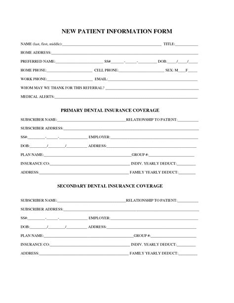 Patient Information Form Template best photos of dental patient forms template new patient