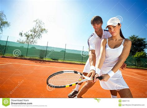 tennis couch sporty girl practice tennis with coach stock image image