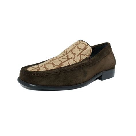 klein loafer shoes calvin klein neil logo slip on loafer in brown for