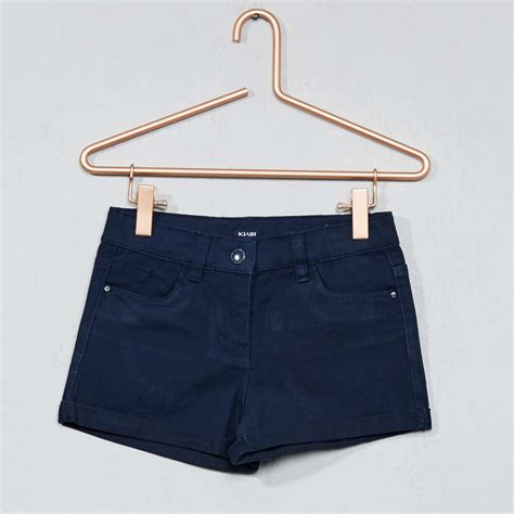 pantalon corto chica pantal 243 n corto de algod 243 n el 225 stico chica azul kiabi