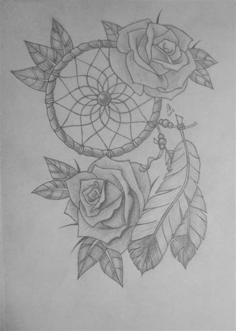 dreamcatcher with roses tattoo best 10 catcher drawing ideas on