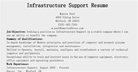 Infrastructure Support Sle Resume by Resume Sles Infrastructure Support Resume Sle