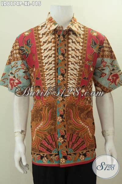 Pakaian Kemeja Pria 115 jual kemeja lengan pendek elegan bahan batik motif sinaran proses printing pakaian batik