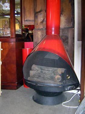 retro vintage swedish jetson style orange metal fireplace