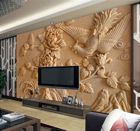 Europea 3d wall murals wallpaper, photo relief Phoenix and