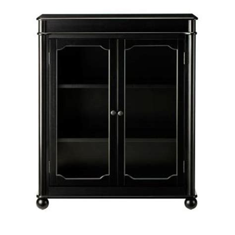 Black Bookcase With Glass Doors with Home Decorators Collection Essex 39 In H Black 3 Shelf Bookcase With Glass Doors 1049100210