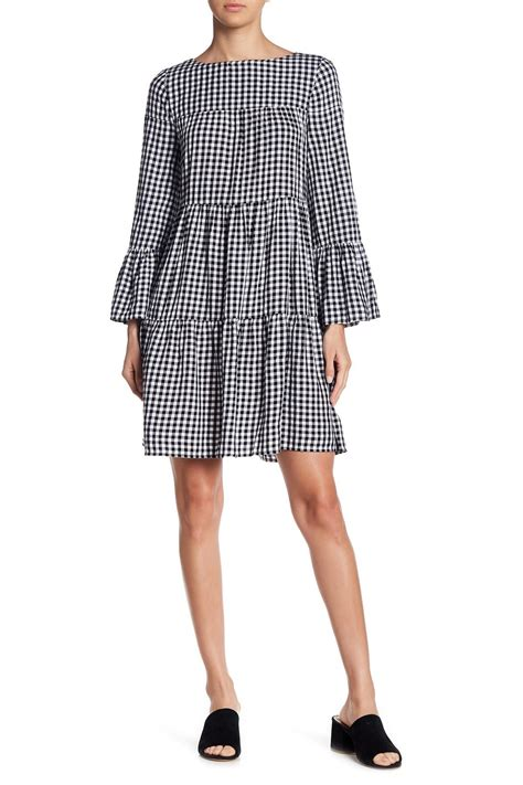 lyst lunch lounge gingham bell sleeve dress