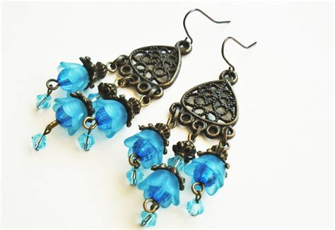 bohemian jewelry blue flower earrings bohemian jewelry vintage style