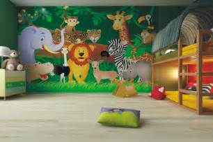 Decoration Chambre Bebe Jungle #1: fresque-murale-chambre-enfant-animaux-jungle-lit-superpose.jpg