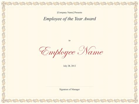 templates certificates employee of the year award business