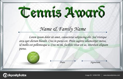certificate template for tennis award stock vector