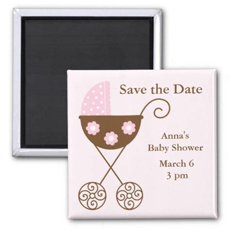 save the date for baby shower pink stroller baby shower save the date refrigerator