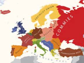 this is a somewhat humorous map of how americans view europe