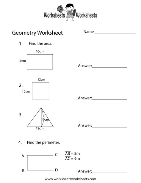 10 Grade Geometry Worksheets by Geometry Review Worksheet Free Printable Educational