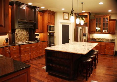 kitchen ideas with cherry cabinets pictures of kitchens with cherry cabinets round white