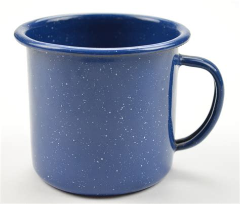 tin cup vintage enamelware tin cup blue white specks collectible
