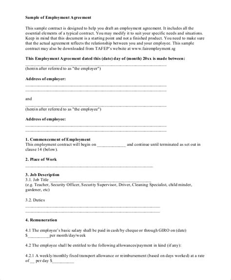 standard agreement template standard employment agreement sle 8 exles in pdf
