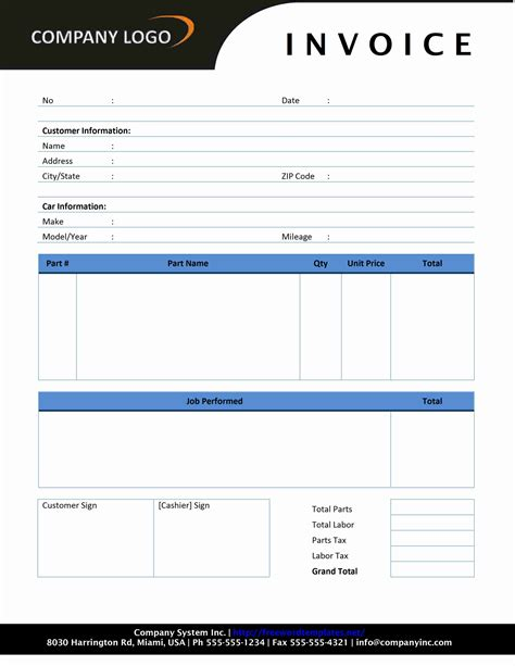invoice template excel download free for vacuum cleaner parts store