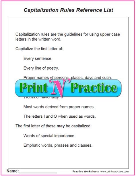 Capitalization Worksheets Pdf by Capitalization Worksheets Pdf Mmosguides