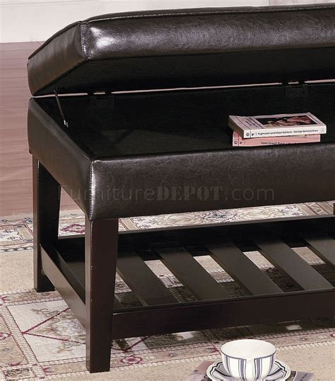 brown leather bench brown leather top bench coffee table w shelf slat storage base